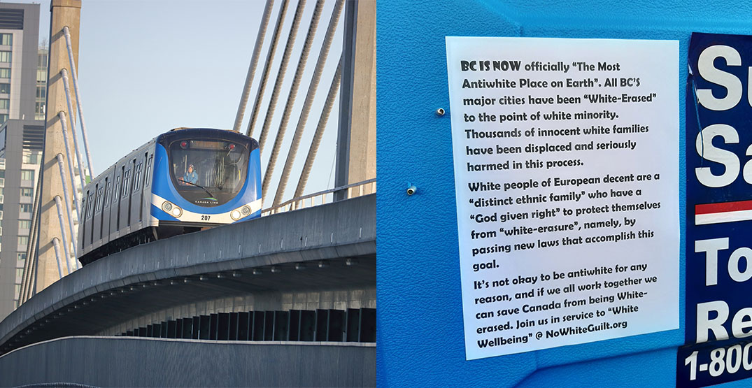 Man confronted for taking down white supremacist poster at SkyTrain station