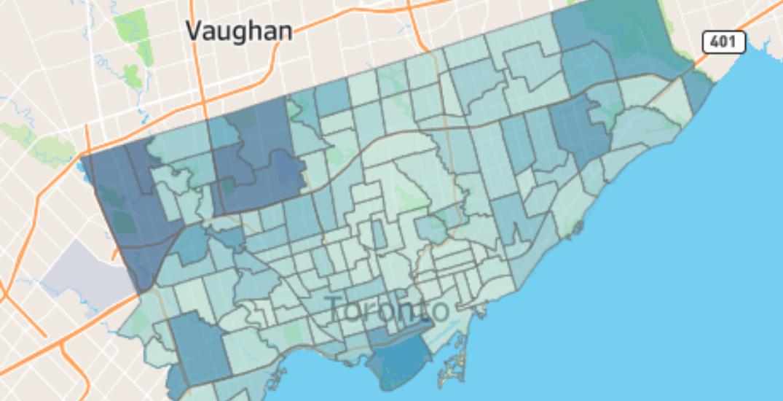 Toronto neighbourhoods with the most and least coronavirus cases