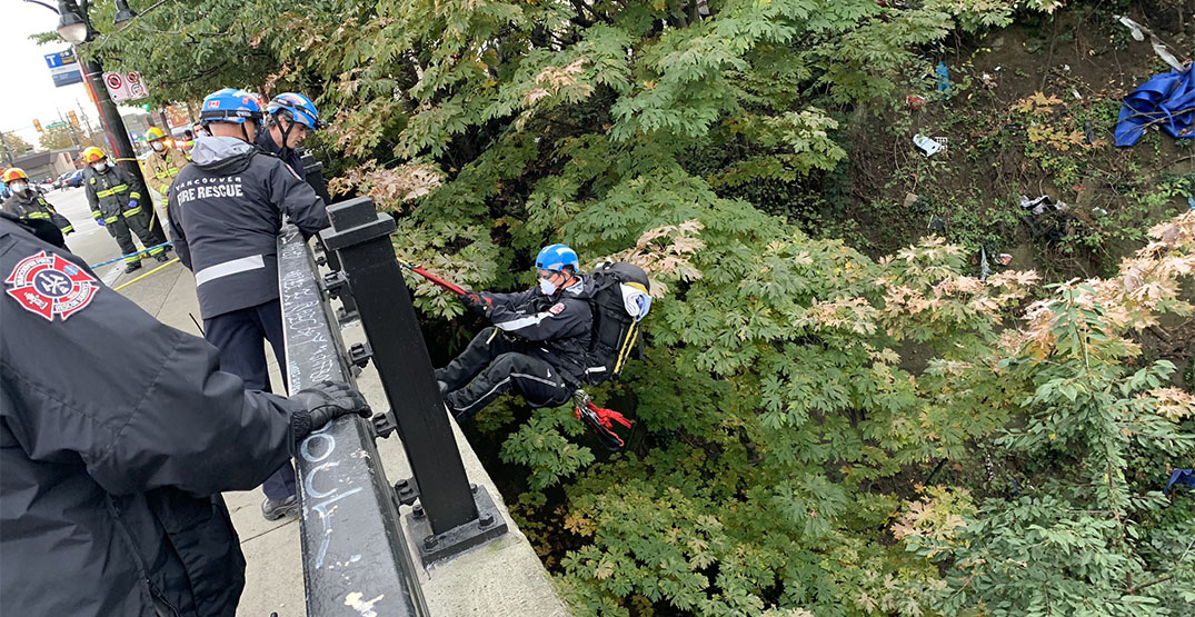 Commercial Drive to reopen after rope rescue near SkyTrain station