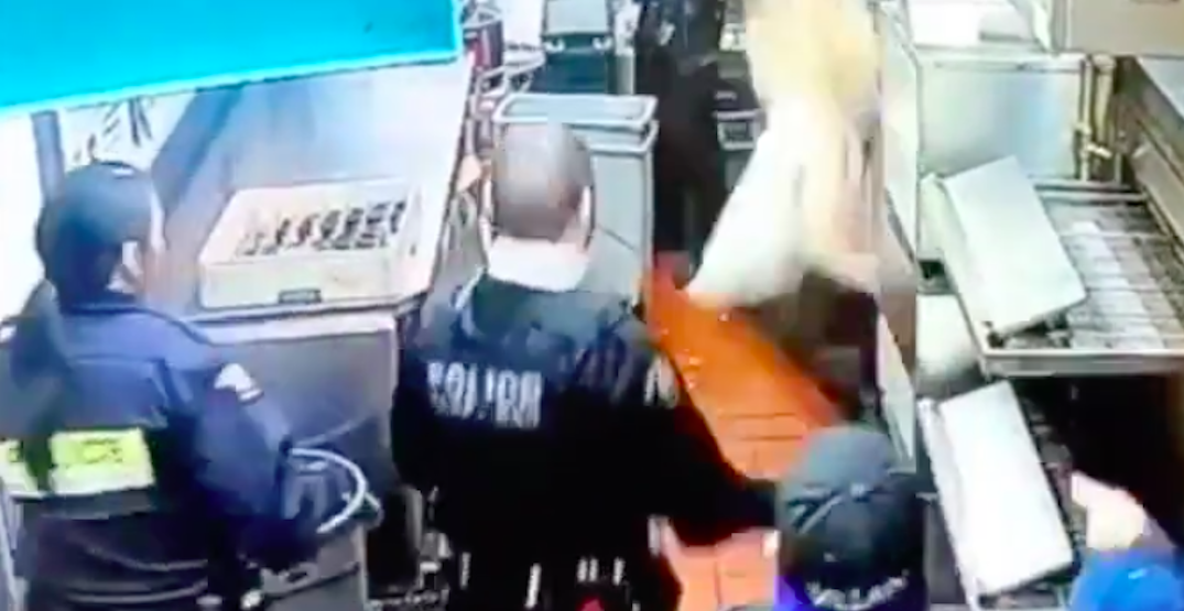 Woman falls through Metro Vancouver restaurant ceiling in failed dine-and-dash attempt (VIDEO)