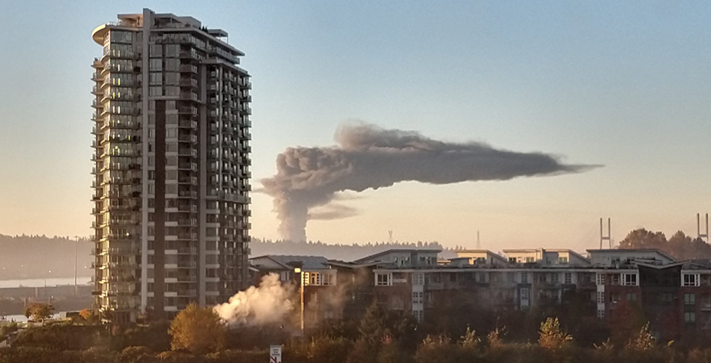 Fire crews battling massive warehouse blaze in Delta