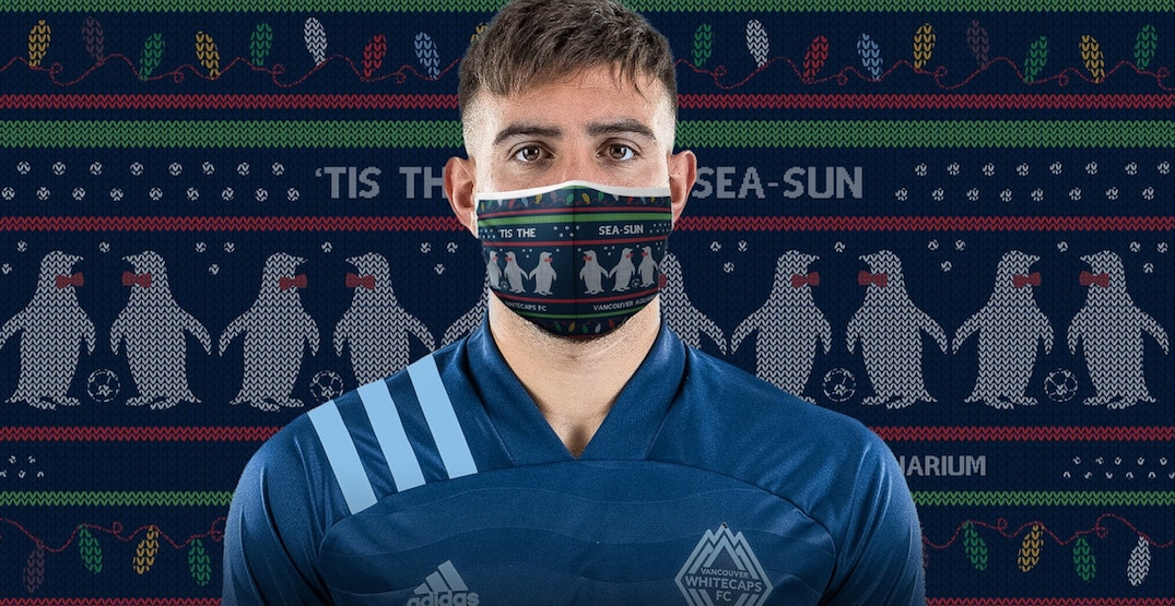 Whitecaps release ugly Christmas sweater masks in support of Vancouver Aquarium