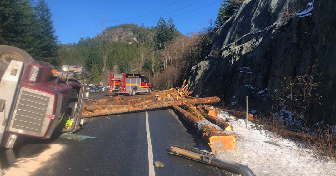 """Some injuries"" reported following logging truck crash near Squamish"