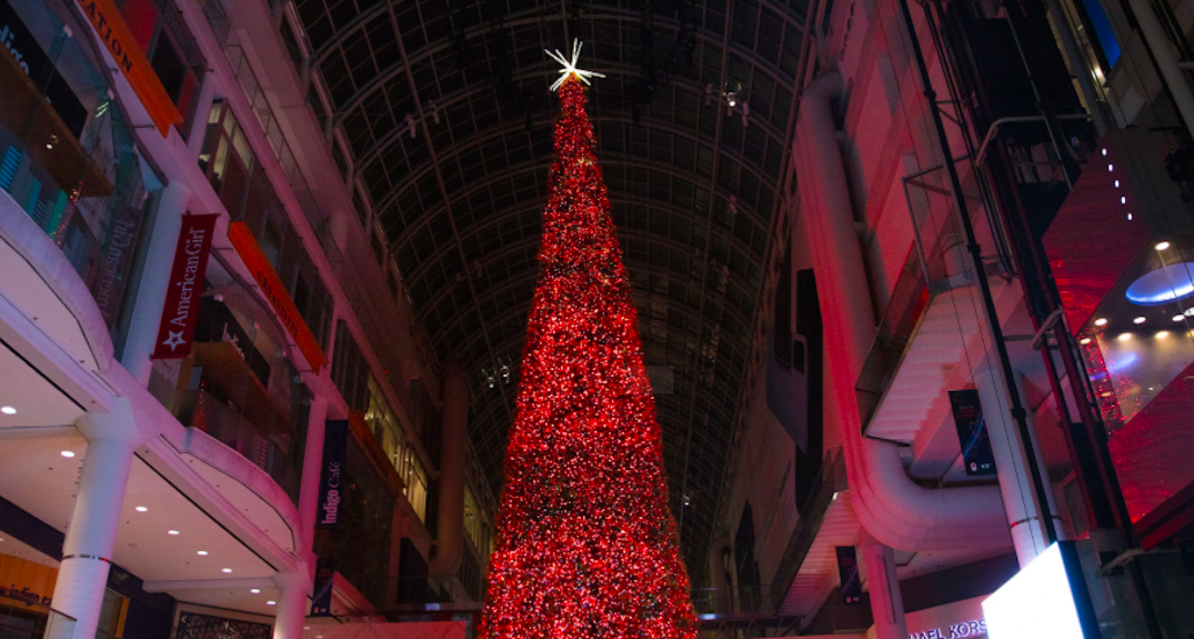 Toronto's 108-foot Christmas Tree unveiled at the Eaton Centre (PHOTOS)