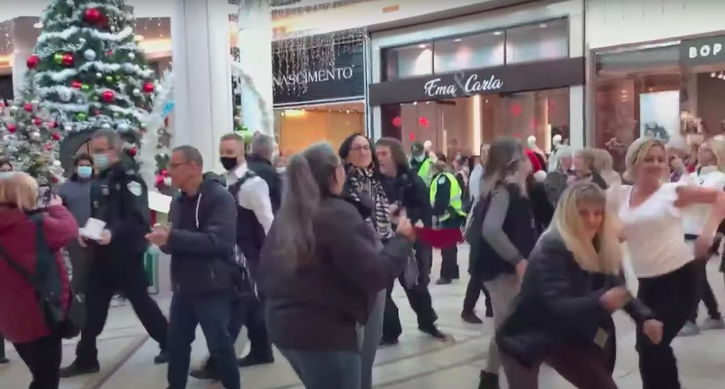 Police break up anti-mask dance gathering at Quebec mall (VIDEO)
