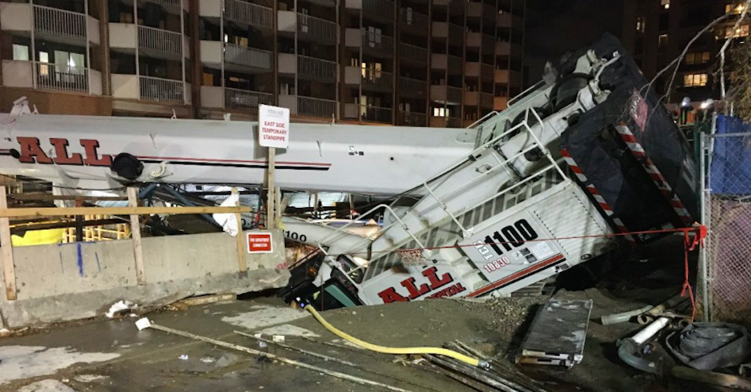 Man taken to hospital after crane collapses at Eglinton Crosstown construction site