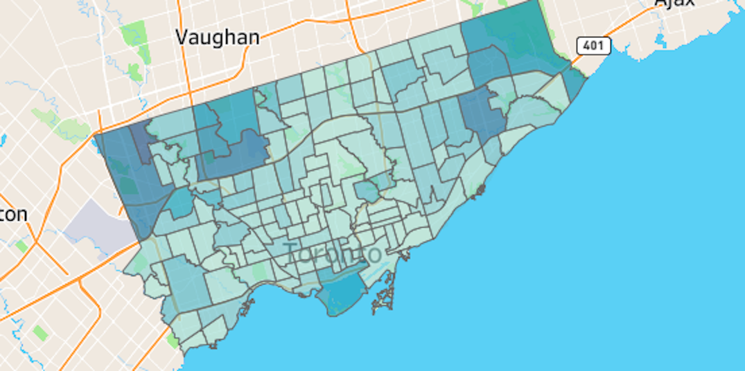 Toronto neighbourhoods with the most and least COVID-19 cases