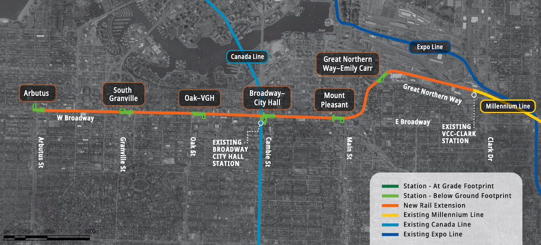 broadway subway broadway extension skytrain millennium line november 2020 map