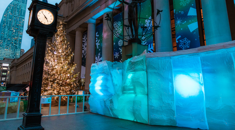 Toronto just got a luminous, immersive outdoor glacier wall installation