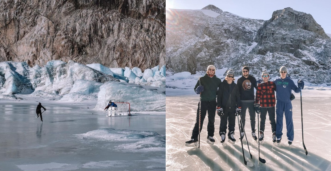 Canucks players play epic pond hockey game on top of BC mountain