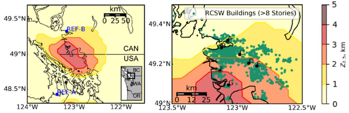vancouver georgia sedimentary basin earthquake map