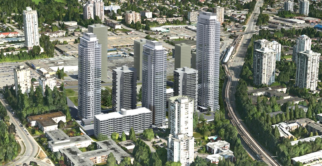 1,200 rental homes in three towers proposed near SkyTrain's Lougheed Station