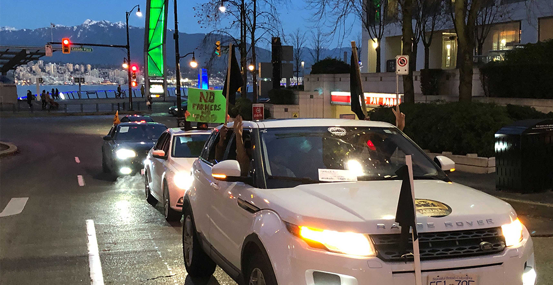 Car rally supporting Indian farmers arrives in downtown Vancouver