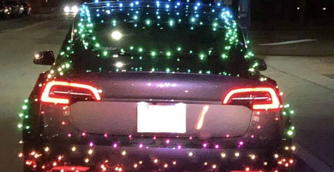 Driver ticketed for duct taping Christmas lights to Tesla