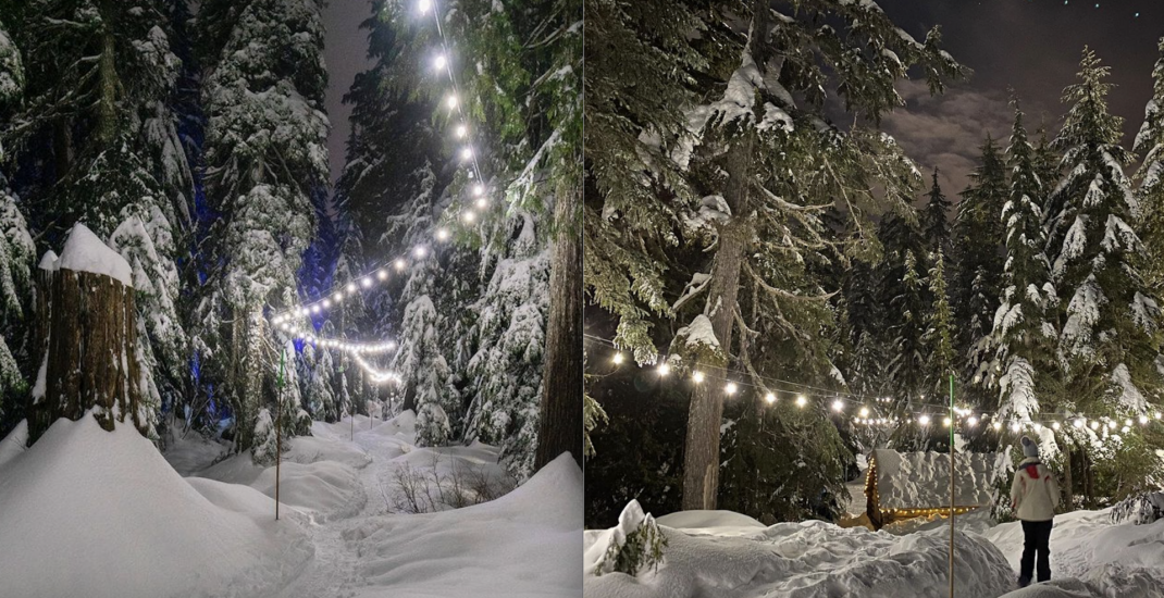 You can take a star-lit snowshoe trek along an illuminated trail on Cypress Mountain