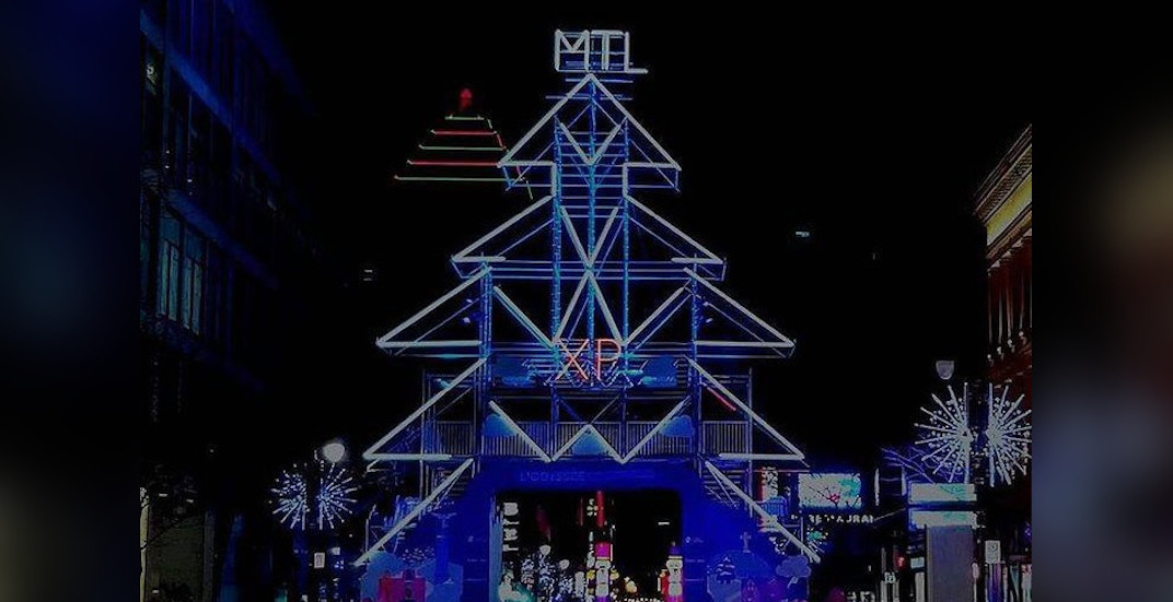 """Montreal's illuminated """"scaffold Christmas tree"""" has returned to downtown"""