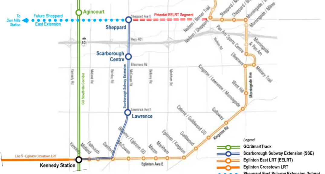 Toronto reviewing its proposed waterfront transit project and Eglinton East LRT