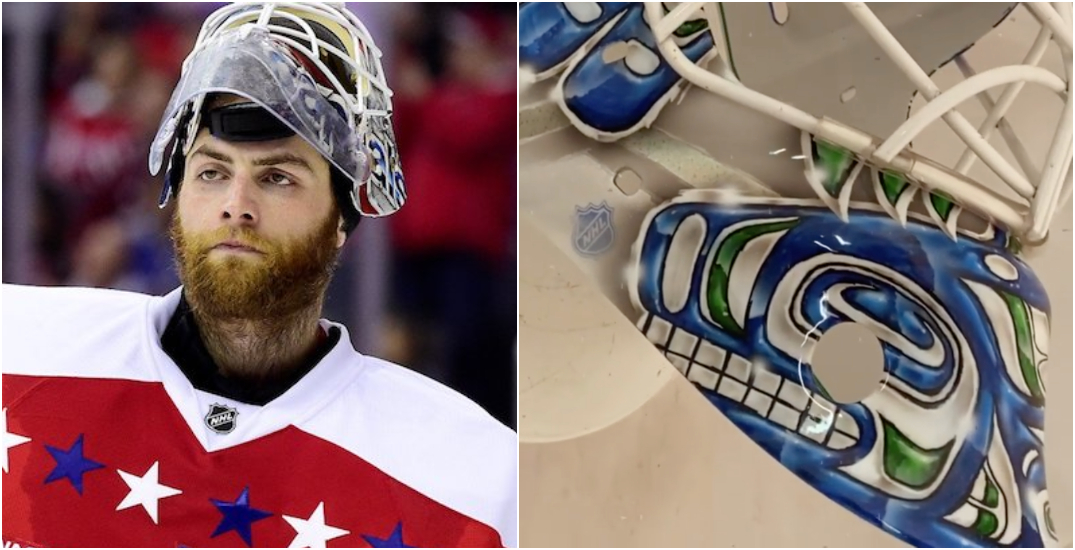 Here is what Braden Holtby's new Canucks goalie mask looks like