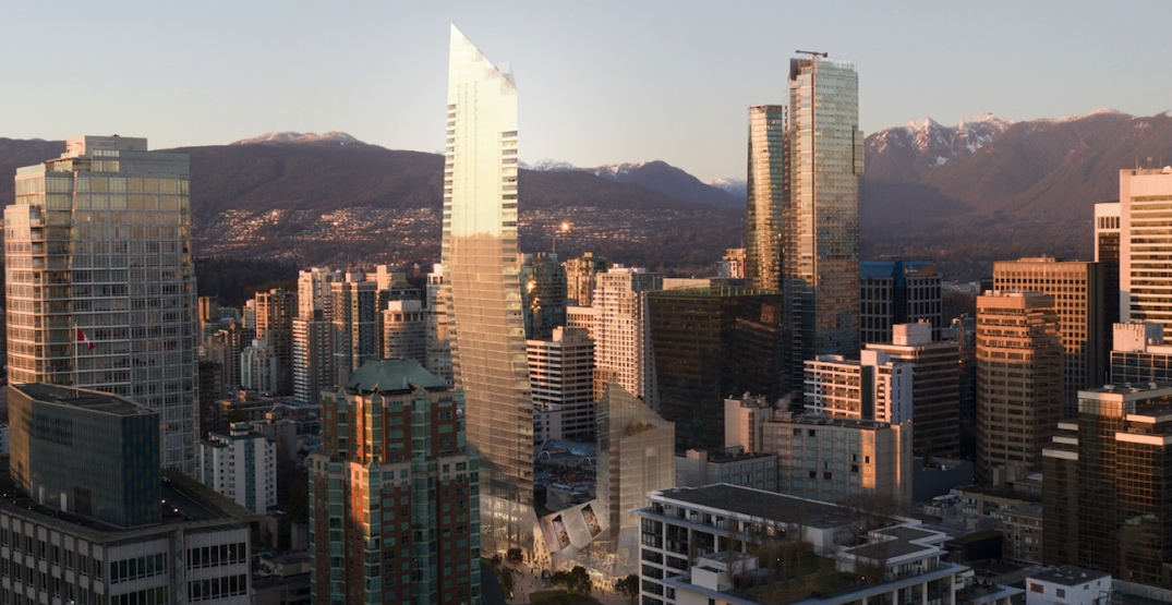 580-ft-tall landmark shard tower proposed near Robson Street in downtown Vancouver