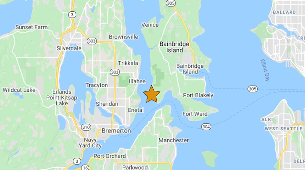 3.4 magnitude earthquake reported this morning near Enetai, Washington