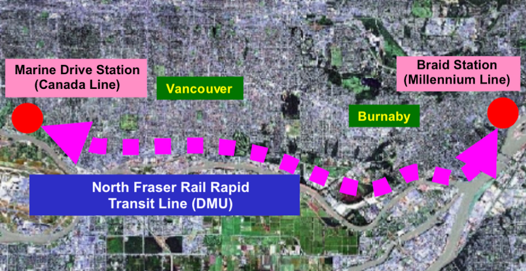 TransLink's concept for rail rapid transit along Fraser River from South Vancouver to Coquitlam