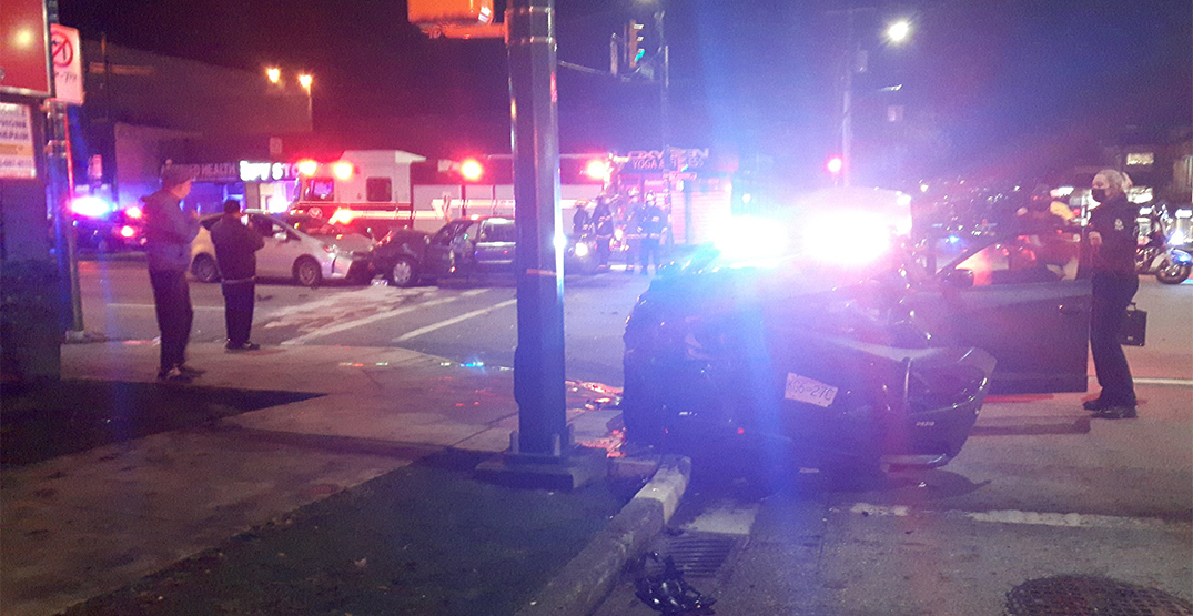 Crash sends Vancouver police car into pole at Broadway and Burrard
