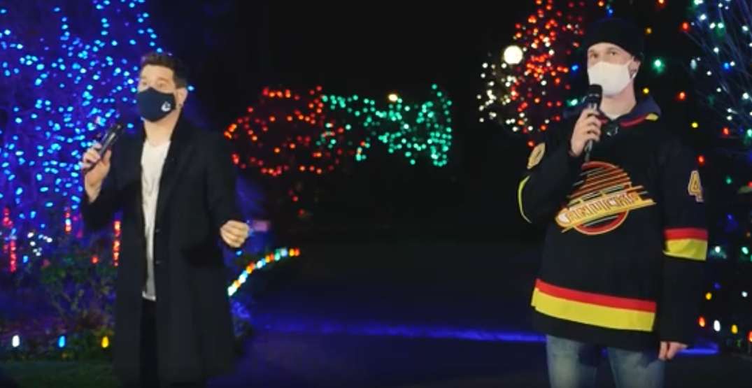 Michael Bublé and Elias Pettersson serenade kids at Canuck Place (VIDEO)
