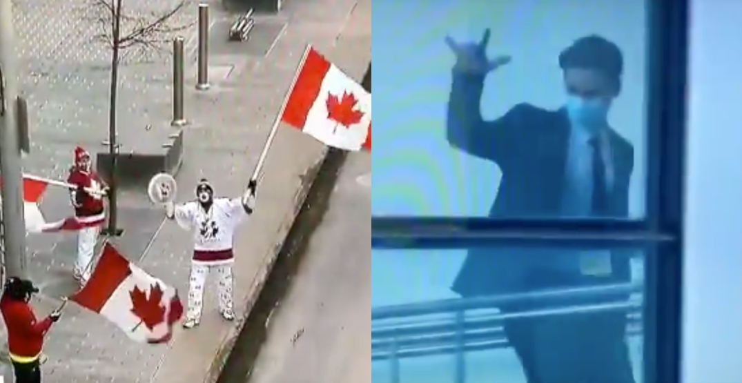 Dedicated fans cheer on Team Canada players from outside the bubble
