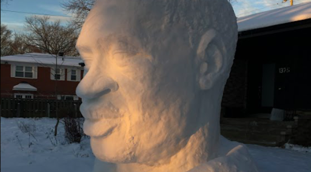 Quebec-based artist says tribute snow sculpture for George Floyd was vandalized