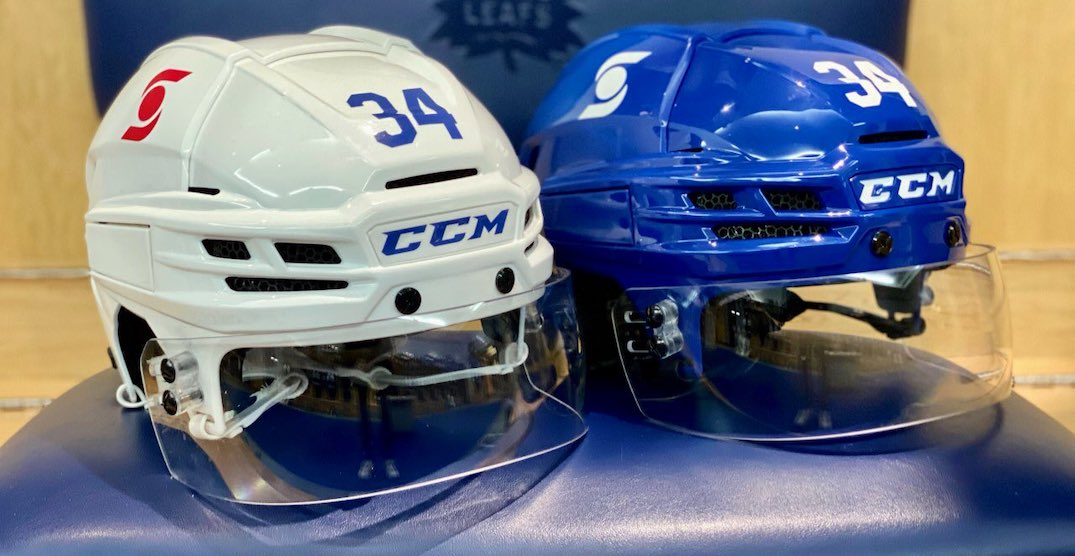 Maple Leafs debut ads on their helmets for the first time ever