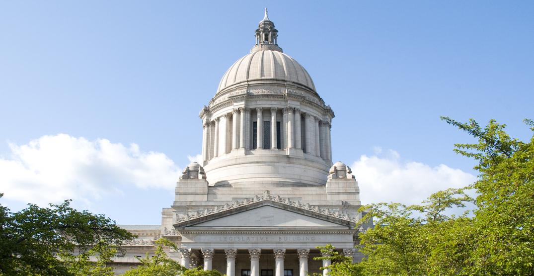 Peaceful demonstrations are taking place outside the Washington State Capitol building