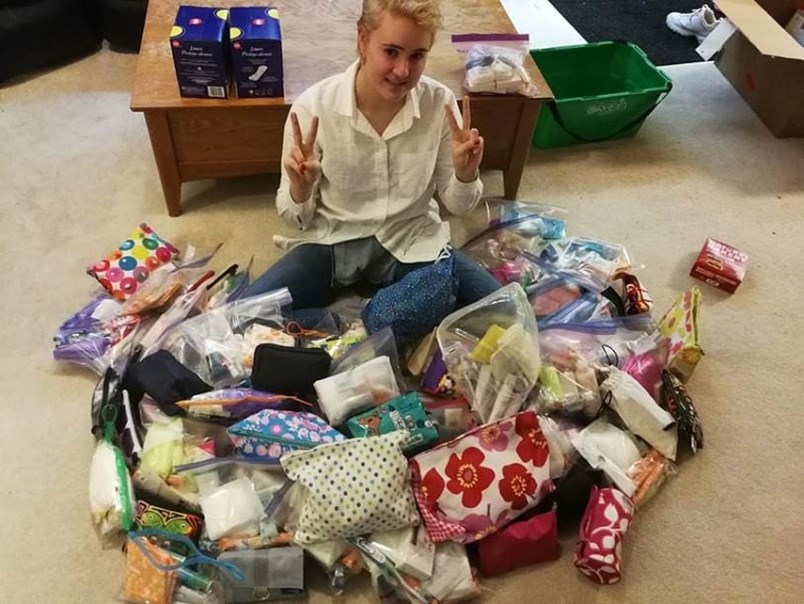 Grade 12 student Camila Palacios collected items via Buy Nothing for a local women's shelter