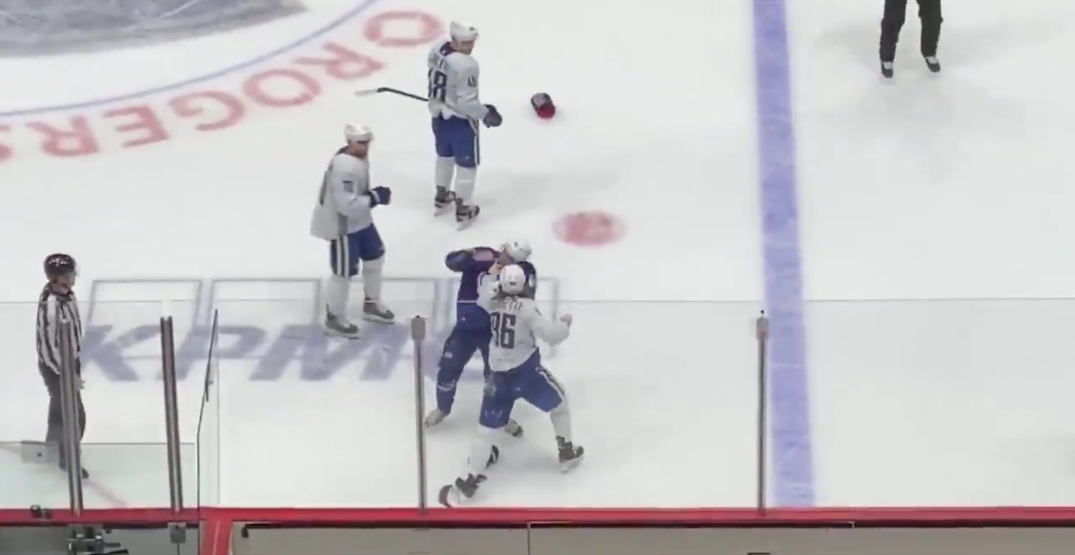 Gaudette and Motte get into fight at Canucks scrimmage (VIDEO)