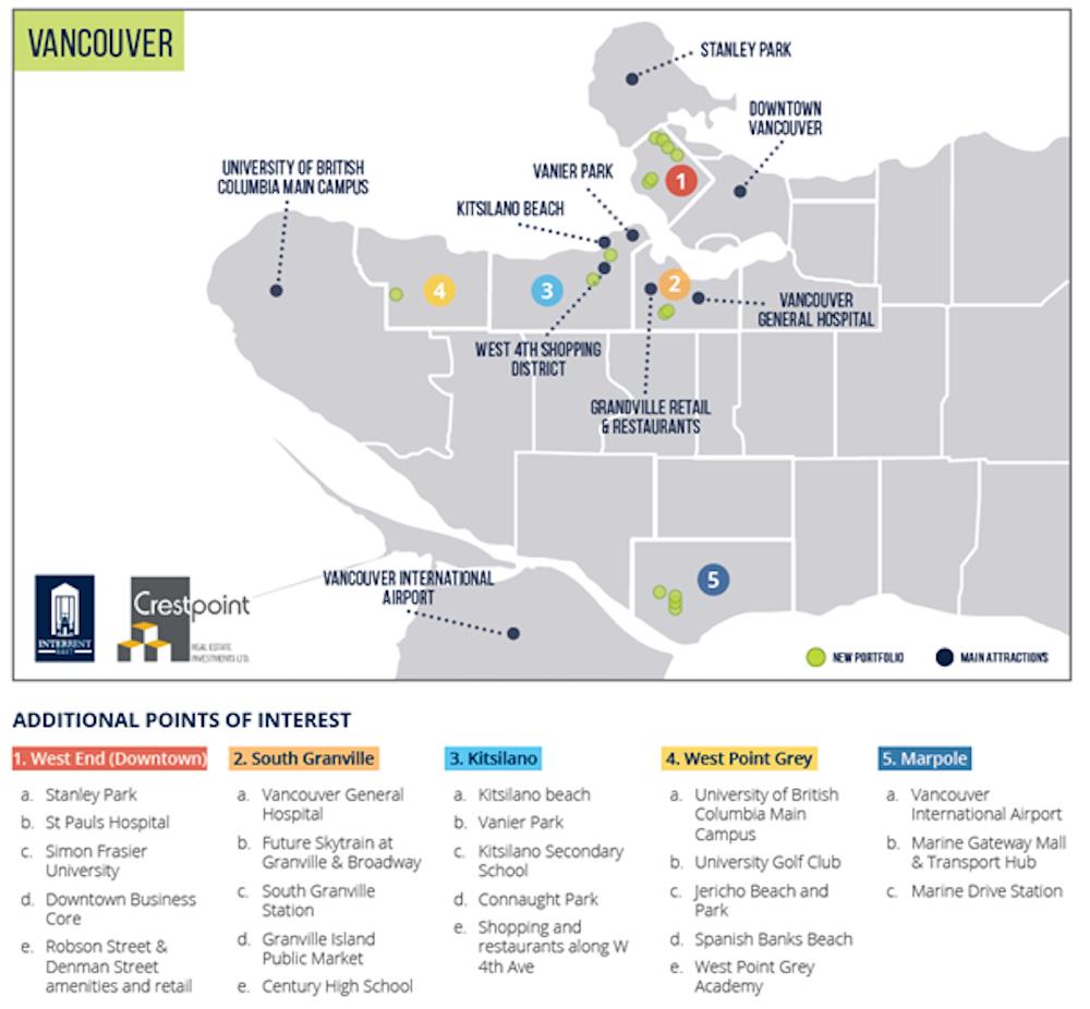 InterRent Crestpoint Real Estate Investment Trust Vancouver map