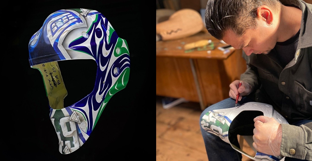 Canucks show off Holtby's new mask designed by Coast Salish artist
