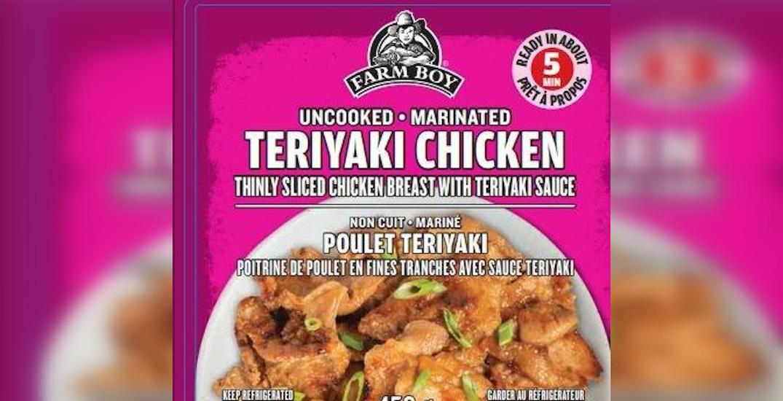Farmboy brand Teriyaki Chicken recalled due to undeclared milk