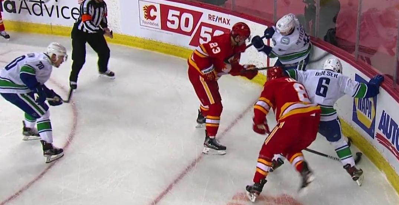 NHL fines Canucks' Pettersson for slashing Flames' Monahan
