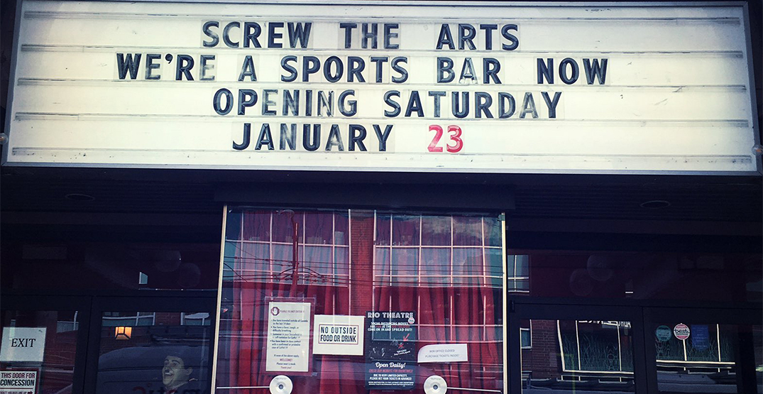 Rio Theatre reopening as sports bar to dodge COVID-19 restrictions