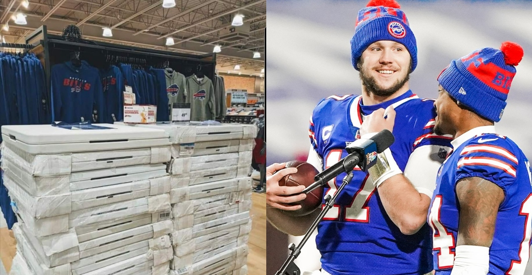 Sports store stocks up on folding tables for Buffalo Bills fans to jump through