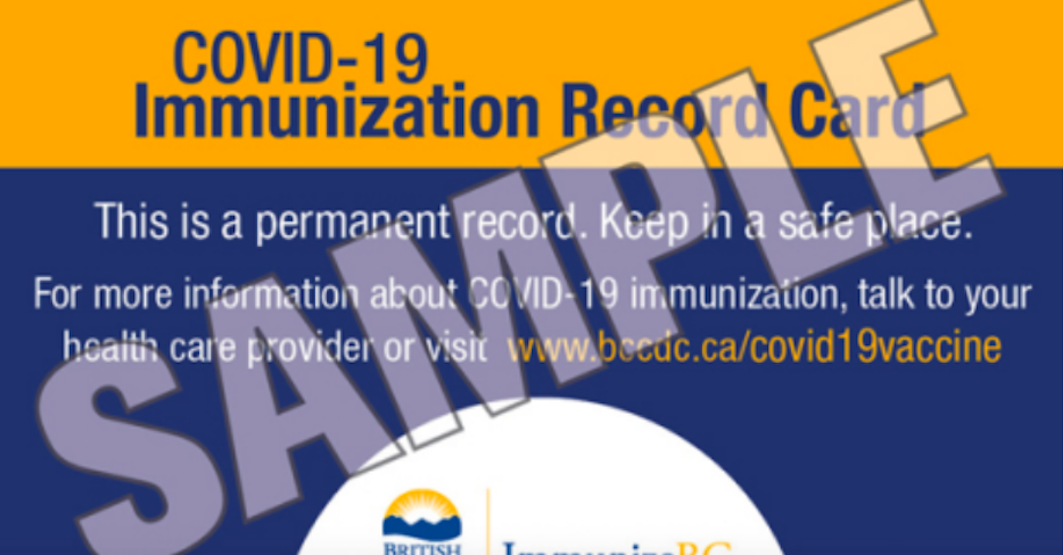 Here's what BC's COVID-19 immunization card will look like
