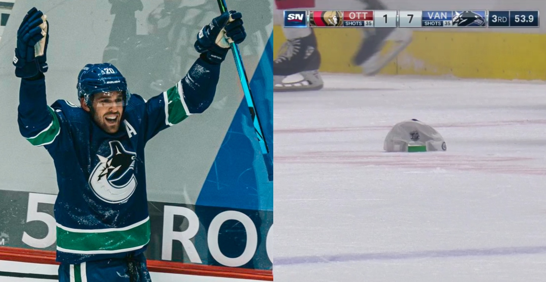 In an empty arena, Canucks goalie tosses hat for Sutter's first-ever hat trick