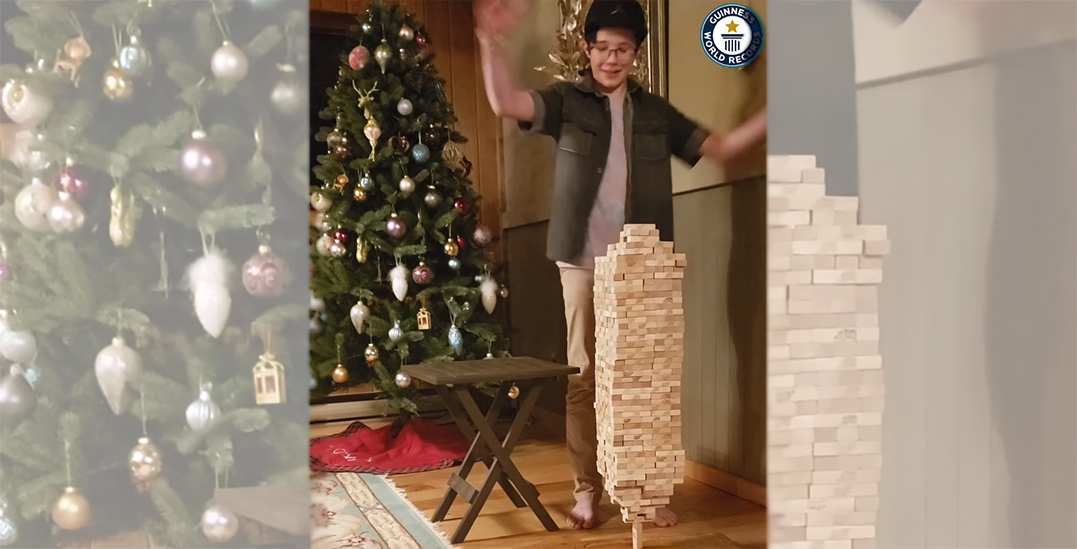 12-year-old Canadian boy sets world record for stacking 693 Jenga pieces on single block