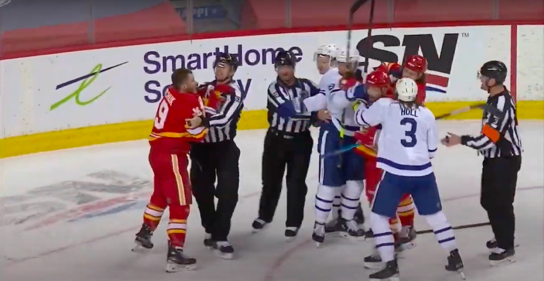 Tkachuk freaks out after Muzzin flips puck at him after Leafs-Flames game (VIDEO)