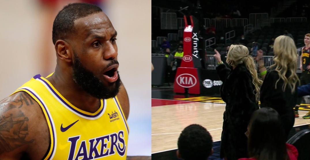 """LeBron James has shouting match with unmasked """"Courtside Karen"""" (VIDEO)"""