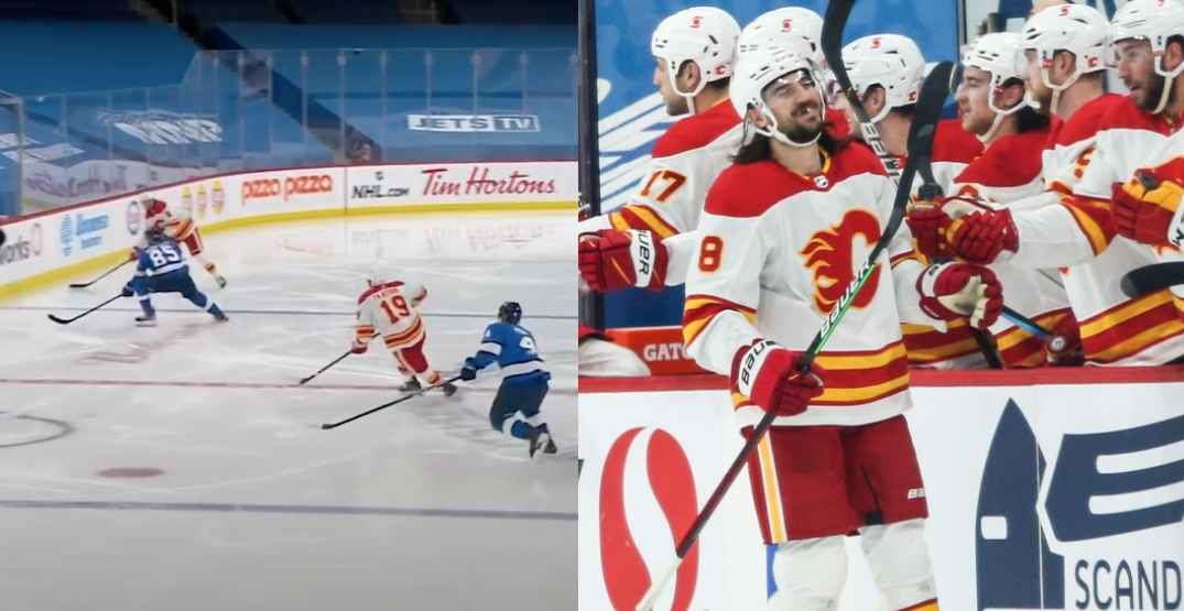Tanev scores first goal with Flames from his own blue line (VIDEO)