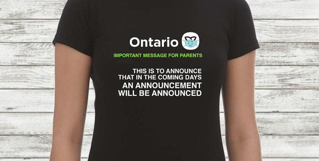 Love Ontario's announcements to announce announcements? There's a T-shirt for that
