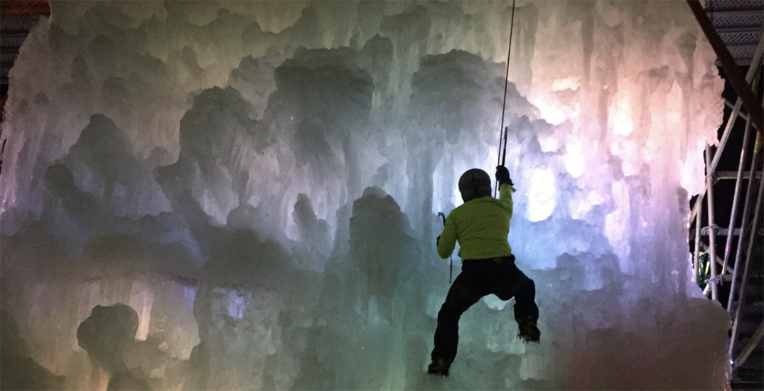 Climb a glowing ice wall in the Edmonton River Valley