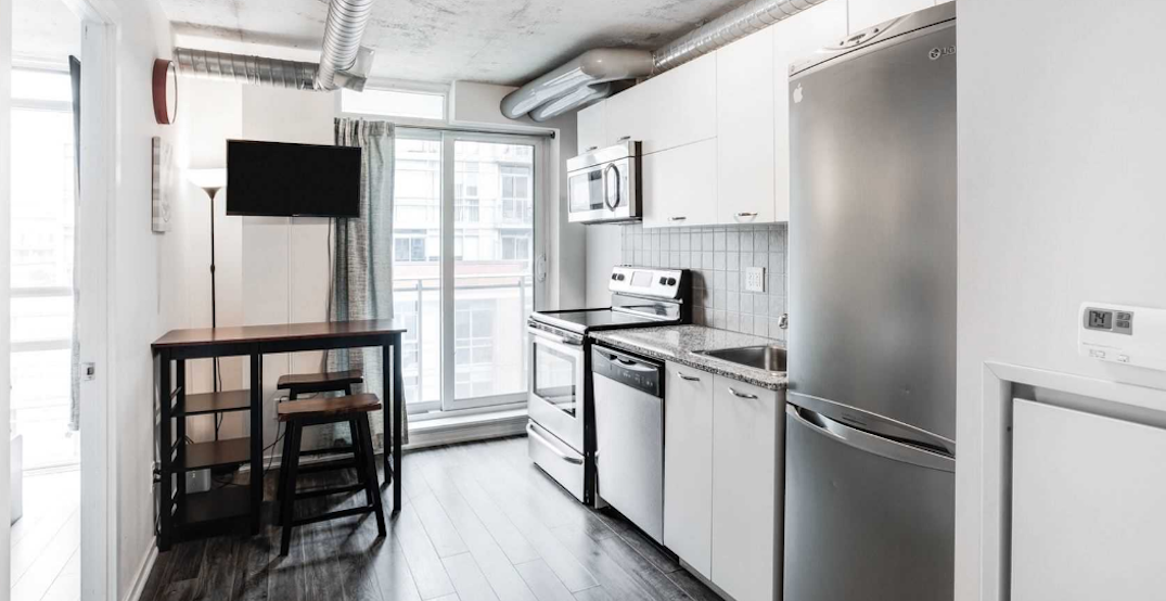 This cozy one-bedroom condo in Liberty Village is listed for under $390,000