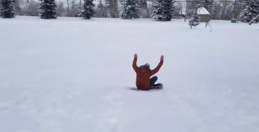 It's so cold in Calgary a reporter used a frozen towel to toboggan (VIDEO)