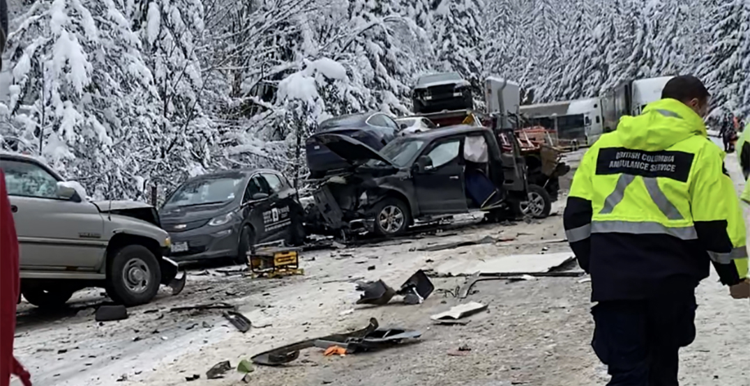 Coquihalla highway crash leaves one dead, more than 30 injured